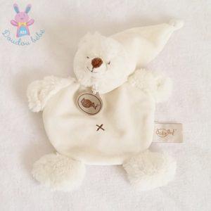 Doudou plat Ours blanc écru petite croix BABY NAT