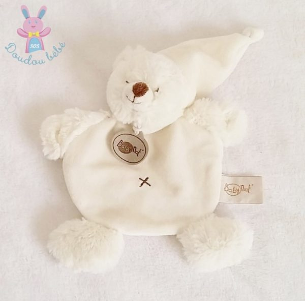 Doudou plat Ours blanc BABY NAT