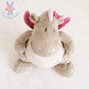 Doudou Dragon Victoria gris rose 40 cm NOUKIE'S