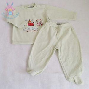 Pyjama velours vert bébé garçon 12 MOIS