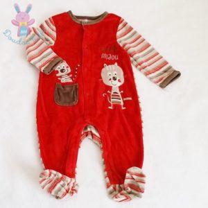 Pyjama velours rouge bébé garçon 12 MOIS ORCHESTRA