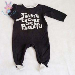 Pyjama velours gris bébé garçon 9 MOIS
