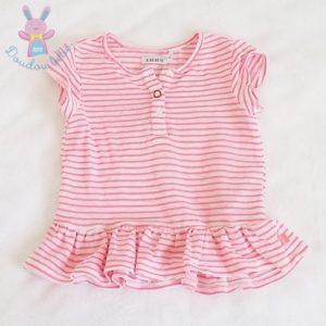 T-shirt rayé rose blanc fille 2 ANS IKKS