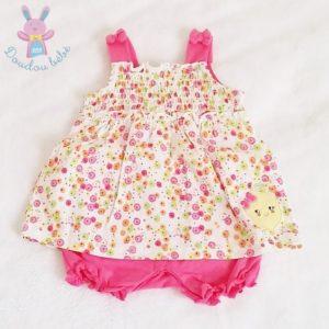 Barboteuse robe rose fleurs bébé fille 2/3 MOIS
