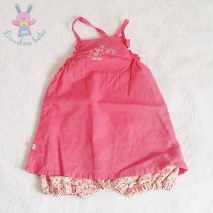 Combi-robe rose fleurs bébé fille 3 MOIS OBAIBI