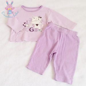 Pyjama coton mauve bébé fille 6/9 MOIS