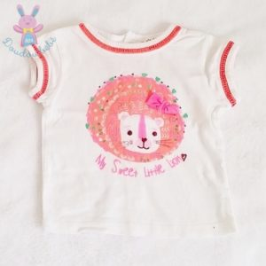 T-shirt blanc Lion orange bébé fille 6 MOIS