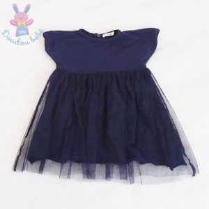 Robe bleu marine et tulle bébé fille 6 MOIS