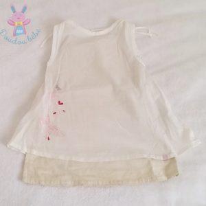 Robe blanche et beige bébé fille 6 MOIS OBAIBI