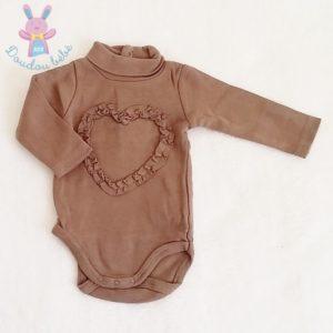 Body avec col marron cœur bébé fille 3 MOIS