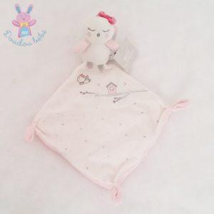 Doudou Oiseau mouchoir blanc rose PAT ET RIPATON