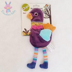 Doudou plat Oiseau Lady violet multicolore OOPS