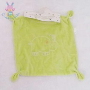 Doudou plat carré vert blanc éléphant CORA
