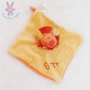 Doudou plat Lion jaune orange grrr CREATIVTOYS