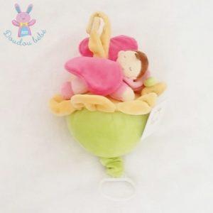 Doudou musical fleur bébé papillon rose NICOTOY