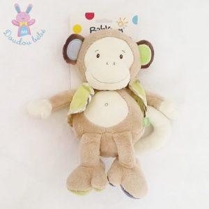 Doudou Singe beige écru gilet vert 30 cm BABYSUN
