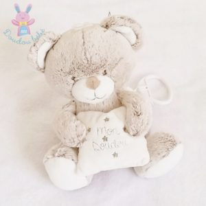 Mon doudou Ours musical beige blanc coussin TEX