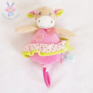 Doudou Vache Coquillette musical rose BABY NAT