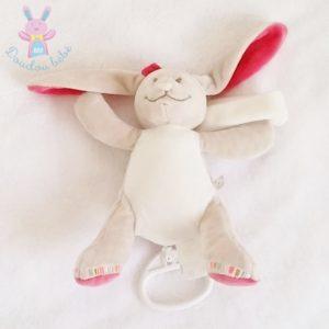 Doudou Lapin musical Pili beige rose NOUKIE'S