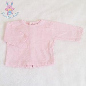 T-shirt rayé rose blanc bébé fille 1 MOIS