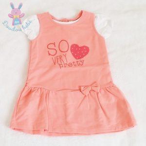 Robe saumon + T-shirt blanc bébé fille 12 MOIS