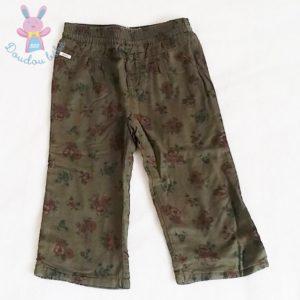 Pantalon kaki fleurs bébé fille 12 MOIS IKKS