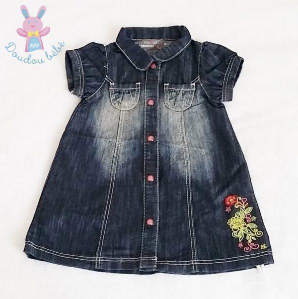 Robe bébé en jean brodée fleurs