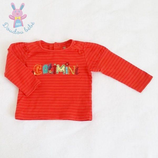 T-shirt orange rayé bébé fille 12 MOIS CATIMINI