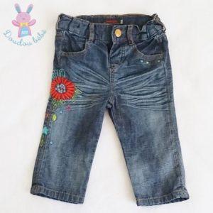 Pantalon jean fleurs bébé fille 12 MOIS CATIMINI