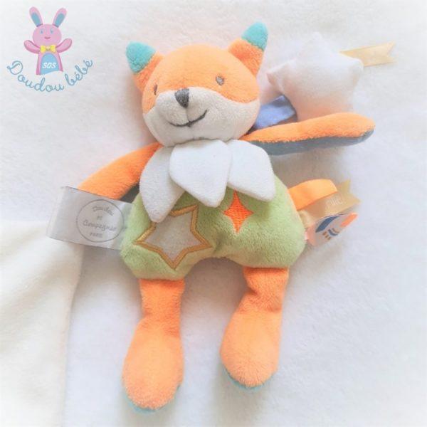 Doudou Renard orange vert Magic mouchoir DOUDOU ET COMPAGNIE