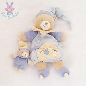 Ours et bébé bleu beige DOUDOU ET COMPAGNIE