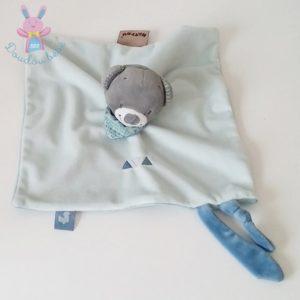 Doudou plat Ours Jules bleu gris attache tétine NATTOU