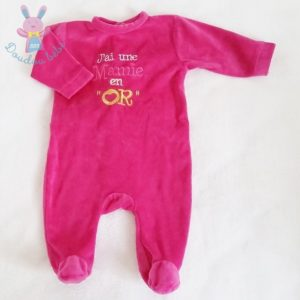 Pyjama velours rose bébé fille 3 MOIS