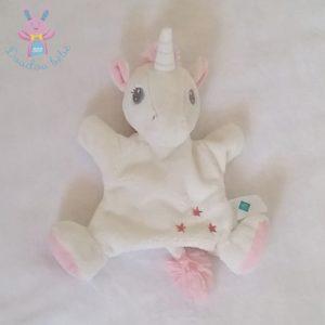 Doudou marionnette Licorne blanc étoiles TEX