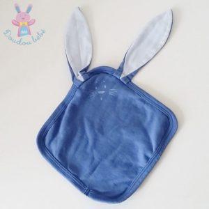 Doudou plat Lapin tissu coton bleu PETIT BATEAU