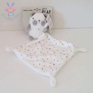 Doudou Ours mouchoir blanc gris étoiles TAPE A L'OEIL
