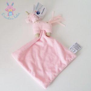 Doudou Licorne plat rose doré mouchoir MOTS D'ENFANTS