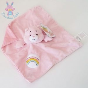 Doudou plat Ours Bisounours rose arc en ciel CARE BEARS