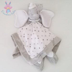 Doudou plat éléphant Dumbo gris blanc tissu DISNEY