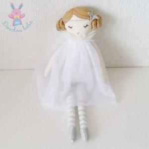 Doudou Poupée fée robe tulle blanc gris CADES
