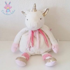 Licorne range pyjama blanc rose 55 cm DOUDOU ET COMPAGNIE
