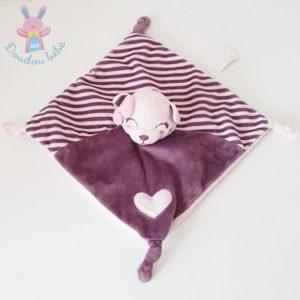 Doudou plat Chat rayé violet rose cœur KIMBALOO