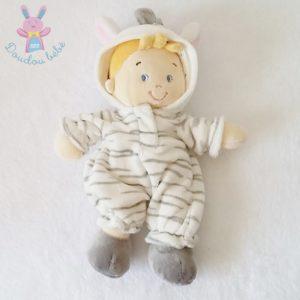 Doudou poupée garçon zèbre blanc gris NICOTOY