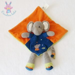 Doudou plat éléphant orange vert bleu étoiles NICOTOY