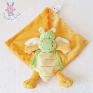 Doudou plat Dragon Dinosaure orange vert NICOTOY