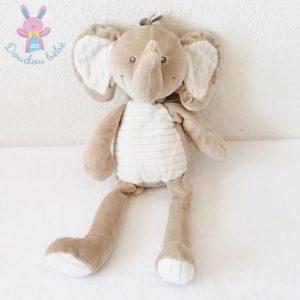 Doudou éléphant beige crème blanc 35 cm NICOTOY