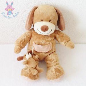 Doudou Chien et son bébé marron beige NICOTOY