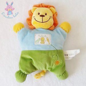 Doudou semi-plat Lion Ma petite tribu bleu vert NICOTOY