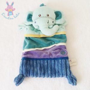 Doudou plat éléphant bleu violet marine NICOTOY