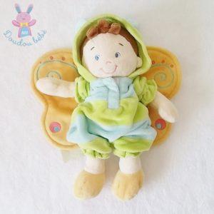 Doudou poupée garçon papillon bleu vert NICOTOY